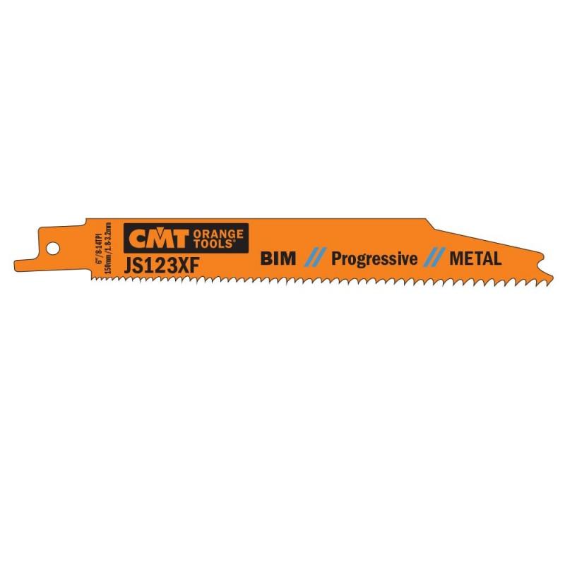 CMT Sabre Saw Blade BIM Progressive Metal 123 XF - L150, I130, TPI8-14 (set 5pcs)