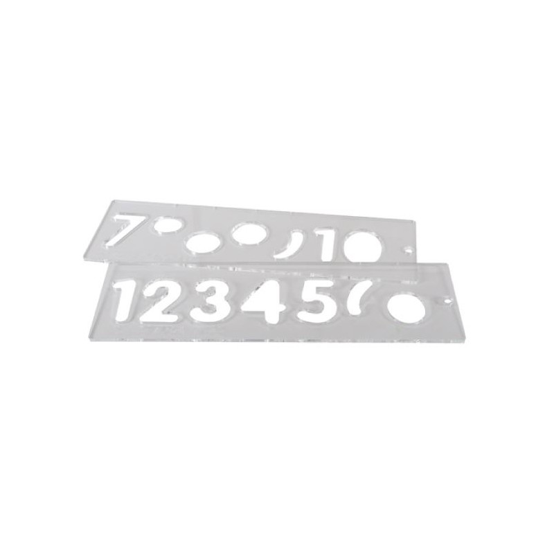 Template Set, Numbers 57 mm uppercase, 1-10
