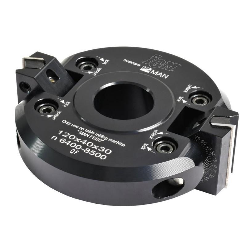 IGM F607 Adjustable Chamfering Cutter Head +-45° MAN - D120x40 d30 Z2 ALU