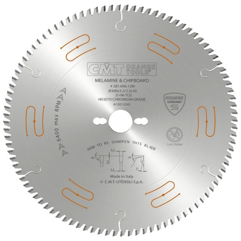 CMT CHROME Saw Blade for Laminated, Chipboard and MDF