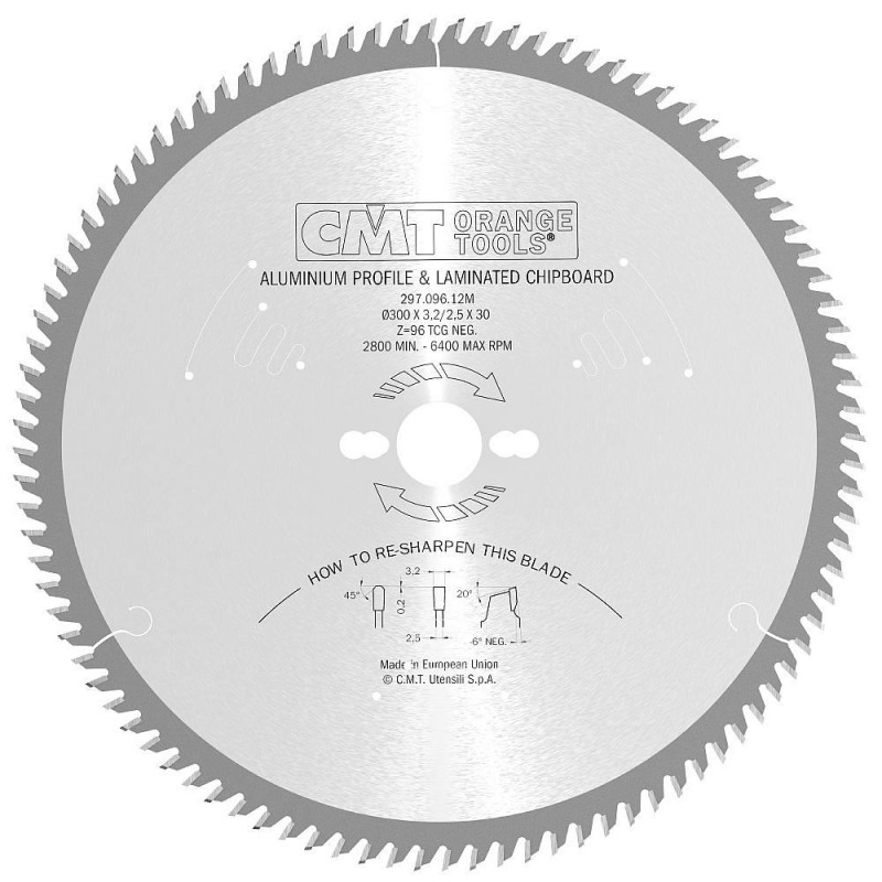 CMT Saw Blade for Laminated Board, Non-ferrous Metal, Plastic