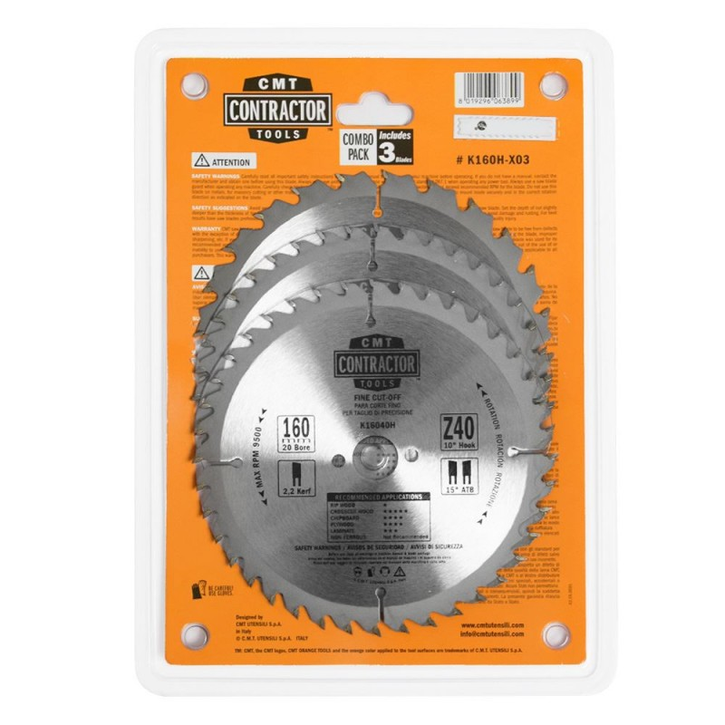 CMT Contractor Set of Saw Blades for Wood Cutting